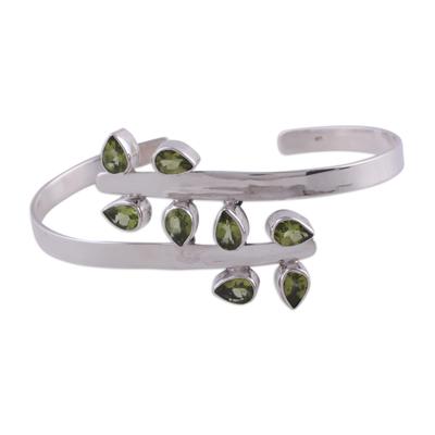 Sterling Silver Cuff Peridot Bracelet Modern Jewelry