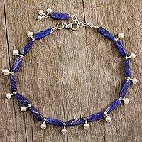 Pearl and lapis lazuli anklet, 'Midnight Blue' - Lapis Lazuli and Pearl Sterling Silver Anklet from India
