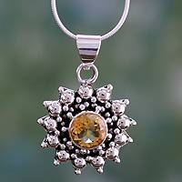 Citrine pendant necklace, 'Star' - Citrine Necklace Artisan Sterling Silver jewellery from Indi