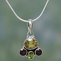 Garnet and citrine pendant necklace, 'Harmony' - Handcrafted Sterling Silver Multigem Necklace