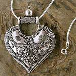 Sterling Silver Necklace Indian Ethnic Jewelry, 'Mighty Heart'