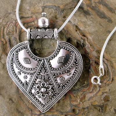 Unicef market heart shaped sterling silver pendant from india quantity aloadofball Images