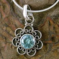 Topaz pendant necklace, 'Blue Blossom' - Blue Topaz and Sterling Silver Necklace