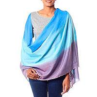 Silk and wool shawl, 'Azure Bliss' - Silk and Wool Blend Pastel Shawl from India