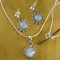 Rainbow monstone jewelry set, 'Goddess' - Good Fortune Sterling Silver Pendant Moonstone jewellery Set