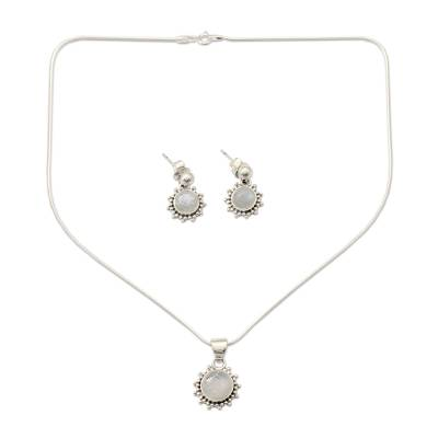 Good Fortune Sterling Silver Pendant Moonstone Jewelry Set