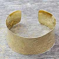Gold vermeil cuff bracelet, 'Summer Skies' - Gold vermeil cuff bracelet