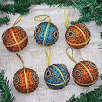 Beaded ornaments, 'Season's Joy' (set of 6)