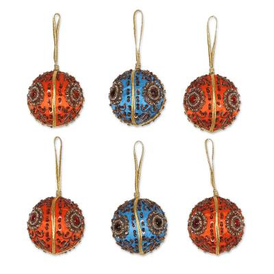 Beaded ornaments, 'Season's Joy' (set of 6) - Beaded ornaments (Set of 6)