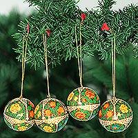 Ornaments, 'Holiday Joy' (set of 4) - Ornaments (Set of 4)