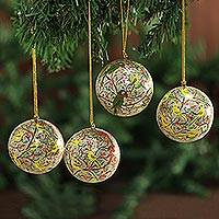 Ornaments, 'Holiday Heralds' (set of 4) - Indian Papier Mache Hand-painted Christmas Bird Ornament Set