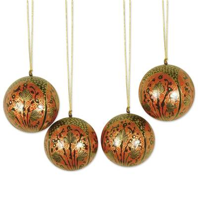 Ornaments, 'Lavish Celebrations ' (set of 4) - Ornaments (Set of 4)