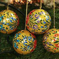 Ornaments, 'Sunlight Joy' (set of 4)