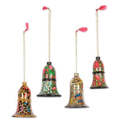 Wood ornaments, 'Holiday Melody' (large, set of 4) - Wood ornaments (Large, Set of 4)