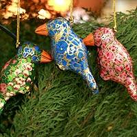 Ornaments, 'Festive Songbirds' (set of 4) - Handmade Christmas Ornaments from India (Set of 4)