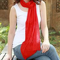 Wool scarf, 'Smart in Scarlet' - Wool scarf