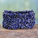 Lapis Lazuli Stretch Bracelet Beaded Jewelry from India, 'Mermaid Song'