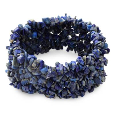Lapis lazuli stretch bracelet, 'Mermaid Song' - Lapis Lazuli Stretch Bracelet Beaded Jewelry from India