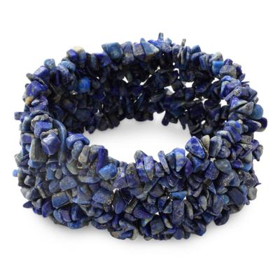 Lapis Lazuli Stretch Beaded Bracelet from India