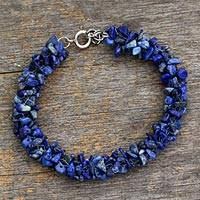 Lapis lazuli beaded bracelet, 'Sea Song' - Lapis Lazuli and Sterling Silver Beaded Bracelet from India