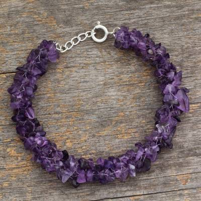 Amethyst beaded bracelet, 'Lovely Lilacs' - India jewellery Beaded Amethyst Bracelet