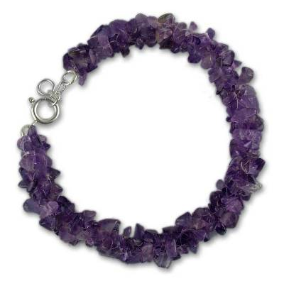 Handmade Sterling Silver and Amethyst Beaded Bracelet from India