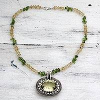 Citrine, peridot, and lemon quartz pendant necklace, 'Sunflower' - Peridot and Citrine Medallion Necklace from India