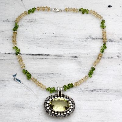Citrine, peridot, and lemon quartz pendant necklace, 'Sunflower' - Peridot and Citrine Silver Pendant Necklace