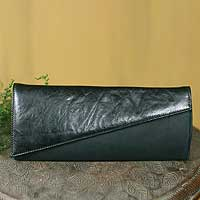 Leather clutch bag, 'Finesse' - Hand Made Leather Clutch Handbag