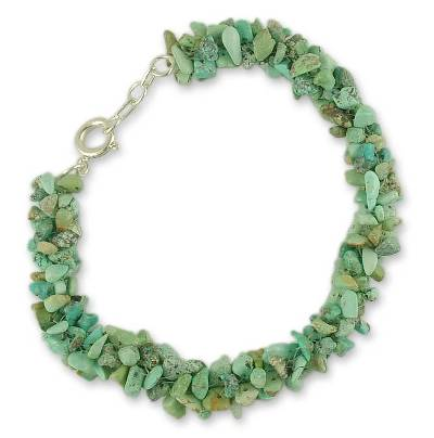 Turquoise beaded bracelet, 'Song of the Sky' - Beaded Natural Turquoise Bracelet