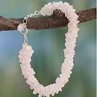 Rose quartz beaded bracelet, 'Aura'