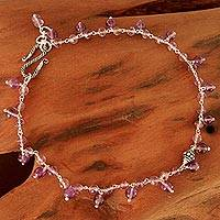 Amethyst anklet, 'Festive' - Unique Sterling Silver and Amethyst Anklet