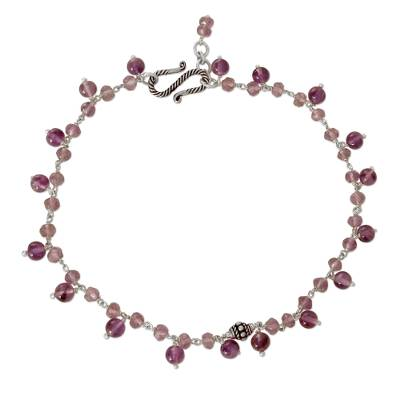 Unique Sterling Silver and Amethyst Anklet