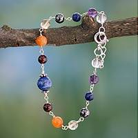 Lapis and amethyst beaded bracelet, 'Bubblegum' - Handmade Sterling Silver Multigem Bracelet