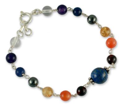 Lapis and amethyst beaded bracelet, 'Bubblegum' - Handmade Sterling Silver Multigem Bracelet
