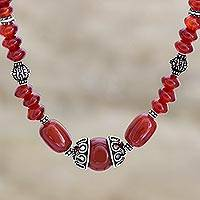 Carnelian strand necklace, 'Ardent' - Sterling Silver and Carnelian Beaded Necklace