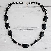 Onyx beaded necklace, 'Night Fascination' - Long Onyx Beaded Necklace