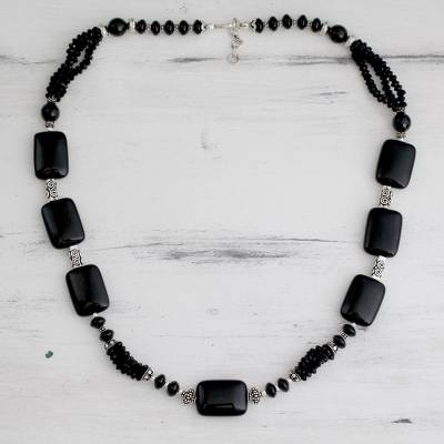 Onyx beaded necklace, 'Night Fascination' - Onyx beaded necklace