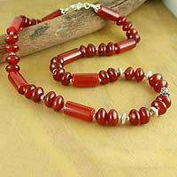 Carnelian strand necklace, 'Radiant Glow' - Carnelian strand necklace