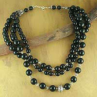 Onyx strand necklace, 'Midnight River'