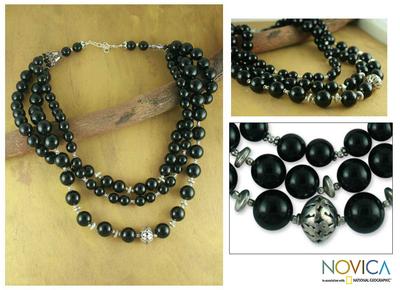Onyx strand necklace, 'Midnight River' - Onyx strand necklace