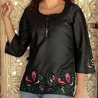 Silk beaded tunic, 'Midnight Magic' - Indian Black Silk Tunic Top with Beaded Embroidery