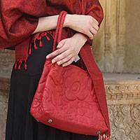 Leather handbag, 'Red Romance' - Leather handbag