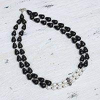 Pearl and onyx strand necklace, 'Majestic Union'
