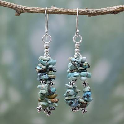 Beaded Turquoise Earrings on Sterling Silver