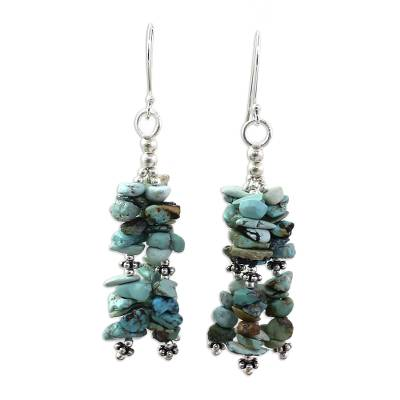 Turquoise Earrings on Sterling Silver Indian Beaded Jewelry
