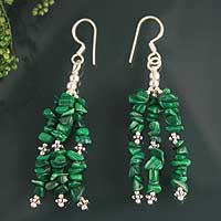 Malachite waterfall earrings, 'Rejoice' - Fair Trade Malachite Earrings on Sterling Silver