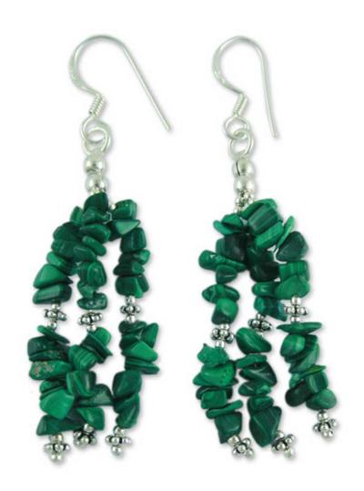 Malachite waterfall earrings, 'Rejoice' - Fair Trade Malachite Earrings on Sterling Silver