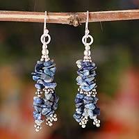 Lapis lazuli waterfall earrings, 'Rejoice' - Lapis Lazuli Earrings Hand Crafted with Sterling Silver