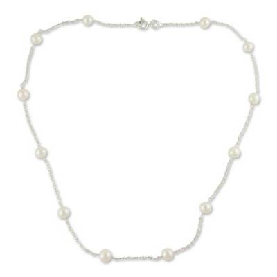 Handcrafted Bridal Sterling Silver Station Pearl Necklace
